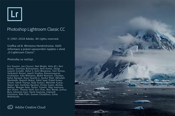Úvodní obrazovka české verze Lightroom Classic 2018.1